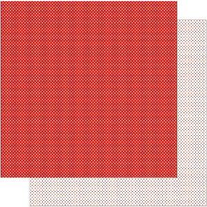 Papel Para Scrapbook Dupla Face 30,5 cm x 30,5 cm – Poá Vermelho Pequeno SD-191