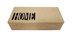 Caixa Home a Laser MDF Com Dobradiça 25x10x7 cm