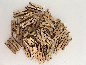 Kit Mini Prendedor Pregador Madeira 2,5 cm Dourado 100 Un