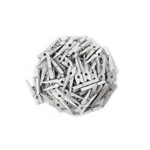 Kit Mini Prendedor Pregador Madeira 2,5 cm Prateado 100 Un