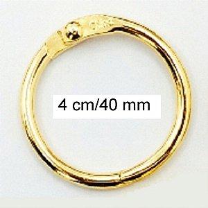 Kit com 5 Argolas Articulada Dourada 4 cm P/ Encadernação