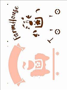 Stencil 15X20 Simples Farmhouse Bichos - Opa 2935