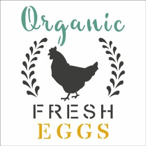 Stencil 10X10 Simples FarmHouse Organic Fresh Eggs Opa 2903