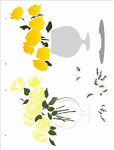 Stencil 32×42 Simples – Vaso Flores Rosas - Opa 2991