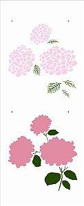 Stencil 17X42 Simples – Flores Hortênsias - Opa 2945
