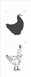 Stencil 17X42 Simples – Animais Galinha - Opa 2943