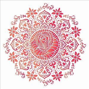 Stencil Simples 30,5 x 30,5 Mandala Rosa De Saron - Opa 2987