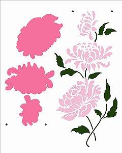 Stencil 20X25 Simples Flor Crisântemos III - Opa 2973