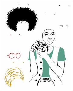 Stencil 20X25 Simples Afro Mulher - Opa 2956