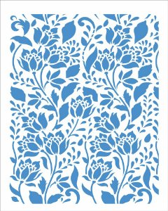 Stencil 20X25 Simples Estampa Flores Bauer Eramos - Opa 2968
