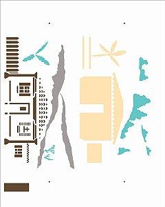 Stencil 20X25 Simples Country Brasil - Casa I - Opa 2963