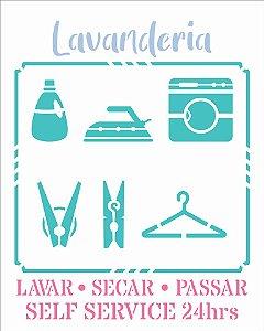 Stencil 20X25 Simples Lavanderia Guia II - Opa 2981