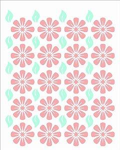 Stencil 20X25 Simples Estamparia Flores Margaridas Opa 2970
