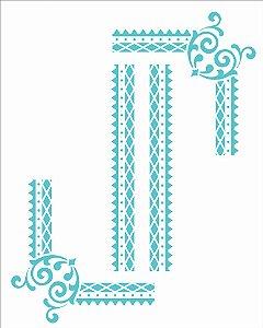 Stencil 20X25 Simples – Moldura Cantoneira II - OPA 2983