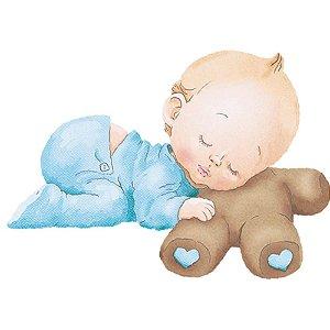 APM3-212 - Aplique Litoarte Em Papel E MDF - Bebê Menino e Ursinho