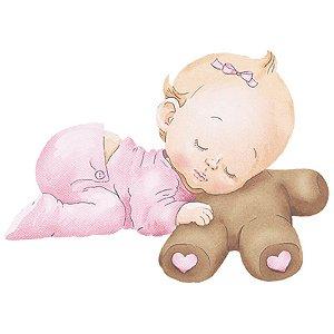APM3-213 - Aplique Litoarte Em Papel E MDF - Bebê Menina e Ursinho