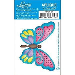 APM8-003 - Aplique Em Papel E MDF - Borboleta Azul Colorida