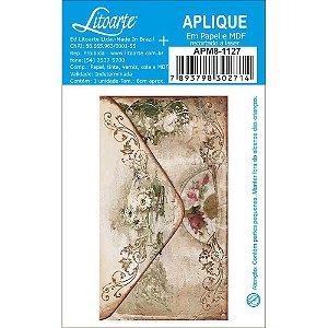 APM8-1127 - Aplique Em Papel E MDF -Envelope Vintage