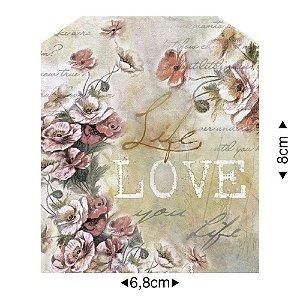 APM8-1129 - Aplique Em Papel E MDF - Tag Vintage Love