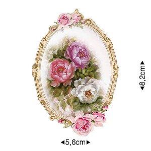 APM8-1131 - Aplique Em Papel E MDF - Moldura Oval Com Flores