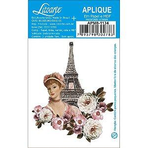 APM8-1134 - Aplique Em Papel E MDF - Torre Eiffel Dama