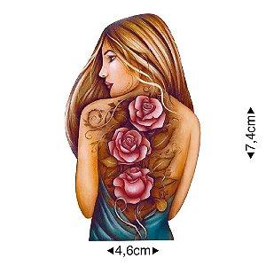 APM8-1138 - Aplique Em Papel E MDF - Mulher Rosas Tatuadas