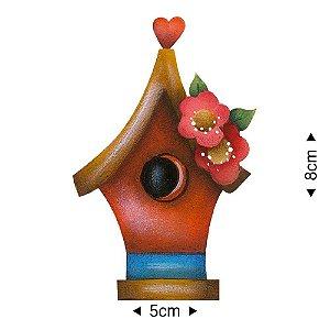 APM8-1188 - Aplique Em Papel E MDF - Casinha de Pássarinho e Flores