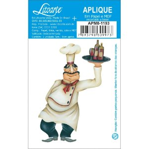 APM8-1193 - Aplique Em Papel E MDF - Cozinheiro com Bandeja de Vinhos
