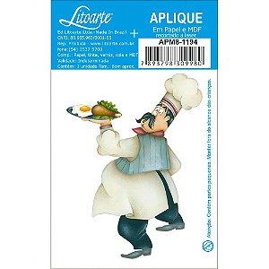 APM8-1194 - Aplique Em Papel E MDF - Cozinheiro com Bandeja de Comida