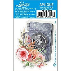APM8-1217 - Aplique Em Papel E MDF - Amor Love Story Máquina Fotografica