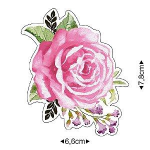 APM8-1219 - Aplique Em Papel E MDF - Rosas Aquarela