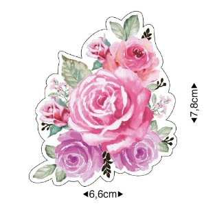 APM8-1220 - Aplique Em Papel E MDF - Rosas Aquarela