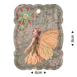 APM8-1233 - Aplique Em Papel E MDF - Fada Flores