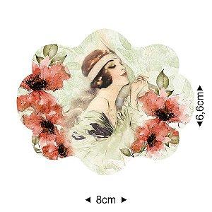 APM8-1240 - Aplique Em Papel E MDF - Dama Flores