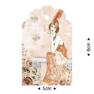 APM8-1242 - Aplique Em Papel E MDF - Dama Rosas