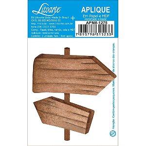 APM8-1275 - Aplique Em Papel E MDF - Placa Setas