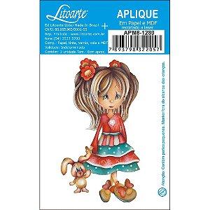 APM8-1289 - Aplique Em Papel E MDF - Menina Boneca Coelho