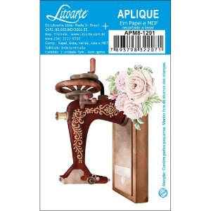 APM8-1291 - Aplique Em Papel E MDF -Máquina de Costura Flores