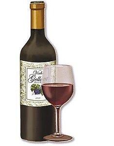 APM8-183 - Aplique Em Papel E MDF - Garrafa De Vinho E Taça