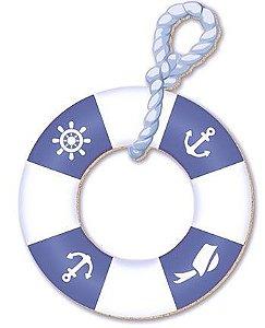 APM8-217 - Aplique Em Papel E MDF - Bóia Azul E Branca Com Desenhos