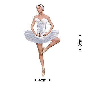 APM8-221 - Aplique Em Papel E MDF - Bailarina Mulher Branca