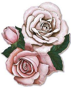APM8-227 - Aplique Em Papel E MDF - Rosas