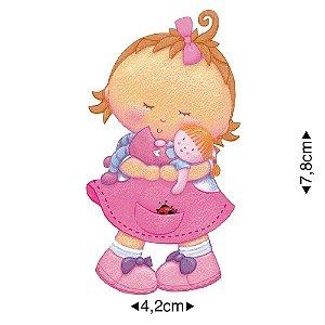 APM8-319 - Aplique Em Papel E MDF - Menina Com Boneca