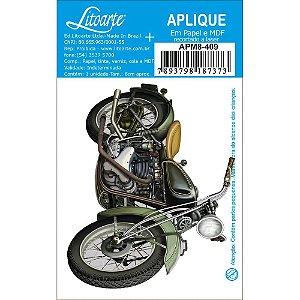 APM8-409 - Aplique Em Papel E MDF - Moto Verde