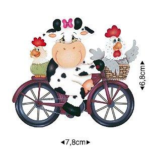 APM8-479 - Aplique Em Papel E MDF - Vaca De Bicicleta