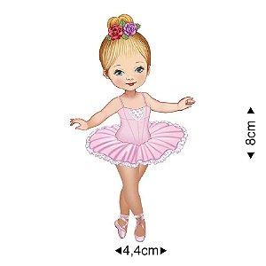 APM8-584 - Aplique Em Papel E MDF - Bailarina Vestido Rosa