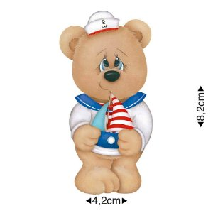 APM8-823 - Aplique Em Papel E MDF - Urso Marinheiro Com Barco