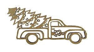 Aplique Em MDF Caminhão Árvore Crú Natal 15 cm