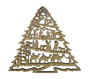 Aplique Em MDF Árvore Presépio Crú Natal 10 cm