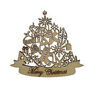 Aplique Em MDF Árvore Merry Christmas Crú Natal 15 cm